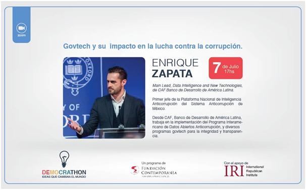 Charla a cargo de Enrique Zapata, Main Lead, Data Intelligence and New Technologies del Banco de Desarrollo de América Latina (CAF).
