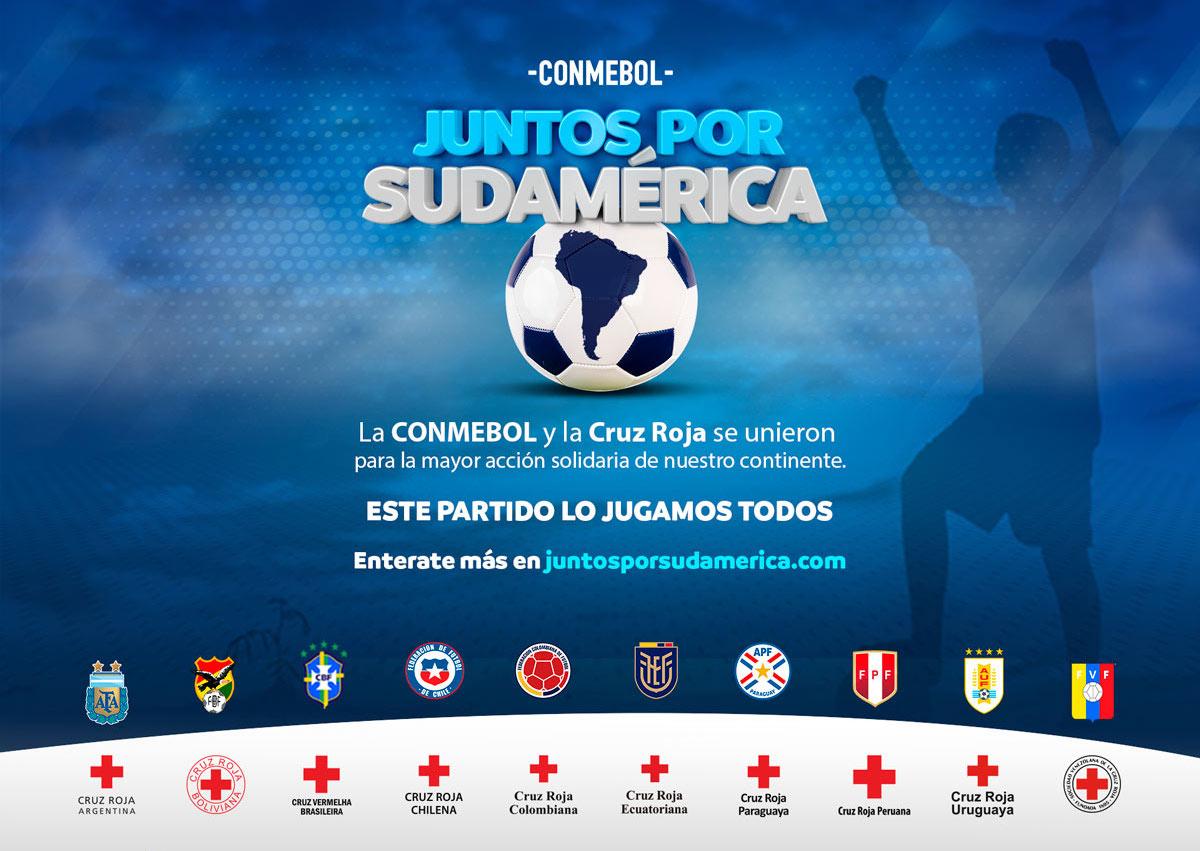 """CONMEBOL lanza junto a Cruz Roja """"Juntos por Sudamérica""""  una gran campaña solidaria para combatir los efectos del COVID-19"""